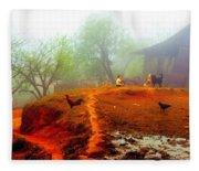 Family On A Hill In Sapa, Vietnam Fleece Blanket