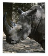Fantastic Profile Of A Rhino With A Long Horn Fleece Blanket