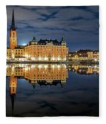 Fantastic Stockholm City Hall And Gamla Stan Reflection With Clouds Fleece Blanket