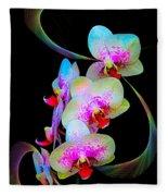 Fantasy Orchids In Full Color Fleece Blanket