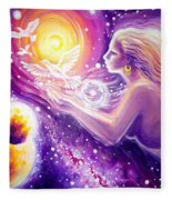 Fantasy Painting About The Flight Of A Dream In The Universe Fleece Blanket
