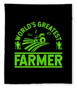 Farmer Shirt Worlds Greatest Farmer Gift Tee Fleece Blanket