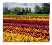 Farming Tulips Fleece Blanket