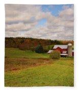 Farmland In Autumn Fleece Blanket