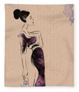 Fashion Woman Portrait Fleece Blanket