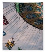 Father And Son On The Swings Fleece Blanket