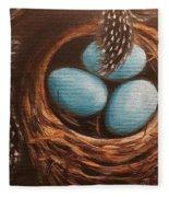 Feathers And Eggs Fleece Blanket
