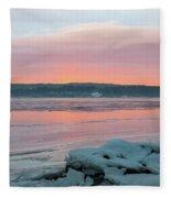 February Sunrise On The Hudson Fleece Blanket