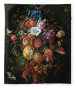 Festoon Of Fruit And Flowers, 1670 Fleece Blanket