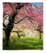 Cherry Orchard Afternoon Fleece Blanket
