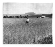 Field Of Wheat Campbell S Plains  Darling Downs Fleece Blanket
