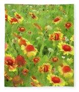 Fields Of Gold - Wildflowers Fleece Blanket by Andrea Kollo