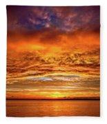 Fire Over Lake Eustis Fleece Blanket