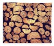Firewood Logs Fleece Blanket