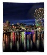 Fireworks And Tillikum Crossing Fleece Blanket