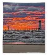 First Day Of Fall Sunset Fleece Blanket