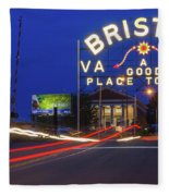 First Night Of The Bristol Sign With New Led Bulbs Fleece Blanket