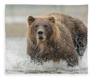 Fish Coastal Brown Bear Of Alaska Fleece Blanket