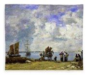 Fishermens Wives At The Seaside - Digital Remastered Edition Fleece Blanket