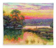 Fishing In Evening Glow Fleece Blanket
