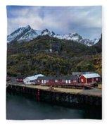 Fishing Village A On Lofoten Fleece Blanket