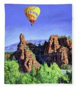 Flight Over Thumb Rock Fleece Blanket