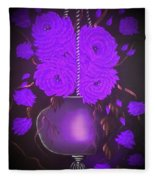 Floral Roses With So Much Passion In Purple  Fleece Blanket
