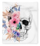 Floral Skull 2 Fleece Blanket