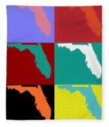 Florida Pop Art Map Fleece Blanket