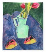 Flowers In A Green Vase On Purple Cloth Fleece Blanket