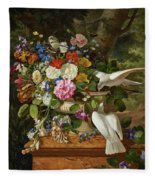 Flowers In A Vase With Two Doves Fleece Blanket