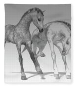 Foals Black And White Bleached Fleece Blanket