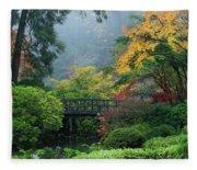 Footbridge In Japanese Garden Fleece Blanket