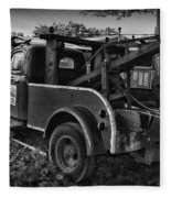 Ford F4 Tow The Truck Business End Black And White Fleece Blanket