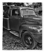 Ford F4 Tow The Truck Hook And Book Black And White Fleece Blanket