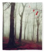 Forest In December Mist Fleece Blanket