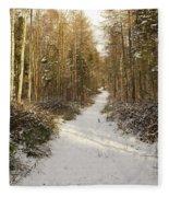 Forest Track In Winter Fleece Blanket