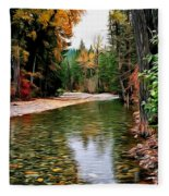 Forest With River Fleece Blanket