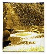 Forsyth Park Tritons In A Cascade Of Gold Fleece Blanket