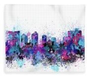 Fort Worth Skyline Color Splatter Fleece Blanket