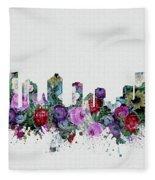 Fort Worth Skyline Floral 2 Fleece Blanket