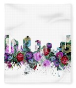 Fort Worth Skyline Floral Fleece Blanket