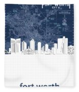 Fort Worth Skyline Map Blue Fleece Blanket