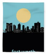 Fort Worth Skyline Minimalsim Blue Fleece Blanket