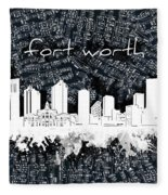 Fort Worth Skyline Music Sheet 2 Fleece Blanket