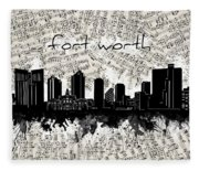 Fort Worth Skyline Music Sheet Fleece Blanket