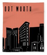 Fort Worth Skyline Panorama Red Fleece Blanket