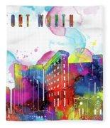 Fort Worth Skyline Panorama Watercolor 2 Fleece Blanket