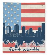 Fort Worth Skyline Usa Flag Fleece Blanket