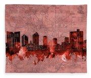 Fort Worth Skyline Vintage Red Fleece Blanket